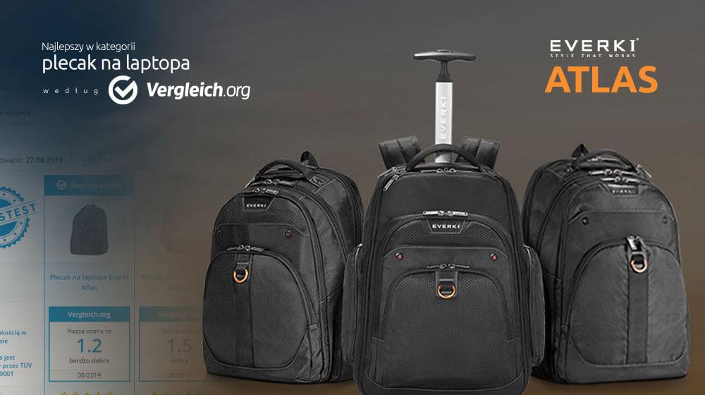 Everki Atlas jako najlepszy plecak na laptopa wg vergleich.org
